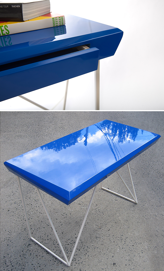 Brilliant blue topped metal desk