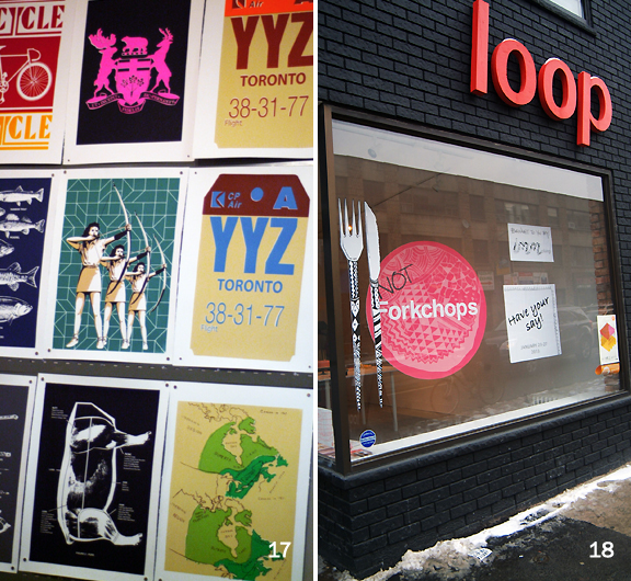 Colourful screen printed posters and image of black bricked storefront from street with sign saying Loop