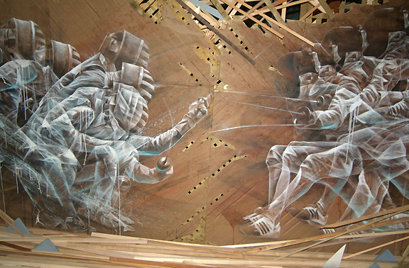 image of two people fencing in a dual spray painted on plywood boards