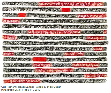 Painted lines of text about Iran some overlapped with black and some with red on white background.