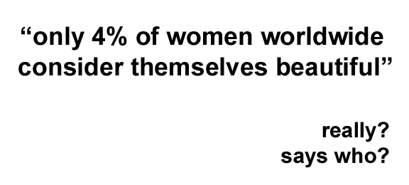 quote saying only four percent of women worldwide consider themselves beautiful