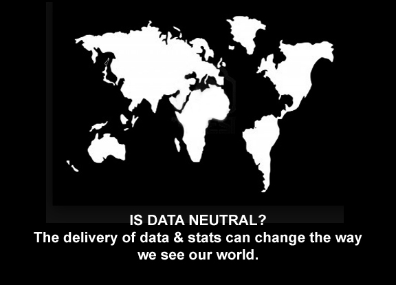 Map of the world flipped asking the question can data be neutral? the delivery can change the way we see our world.