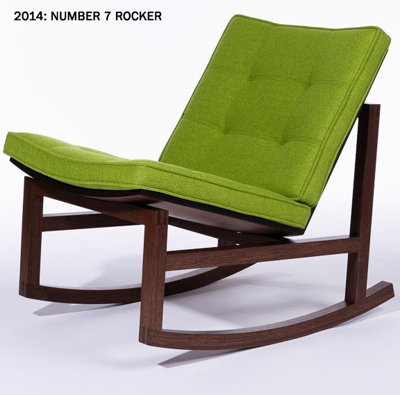 Dark wood, square framed rocker with green cushioning