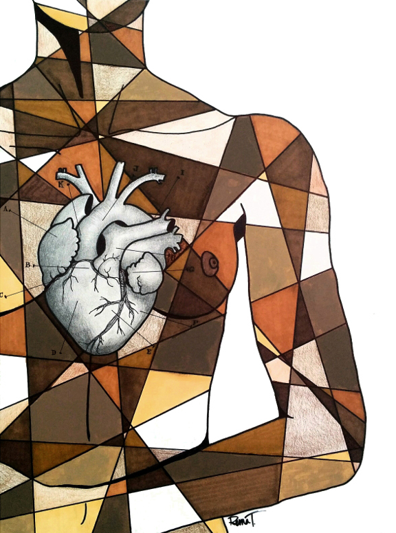 Drawing of a black woman's torso and heart like a anatomical drawing superimposed on it