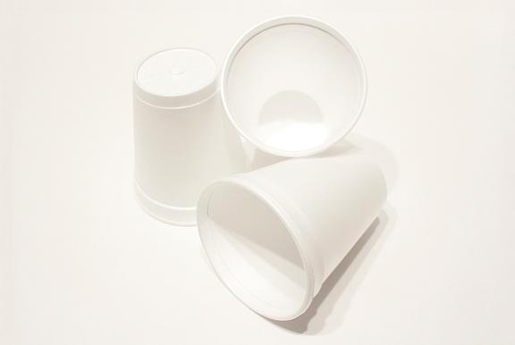 Image of 3 white styrofoam cups on white background