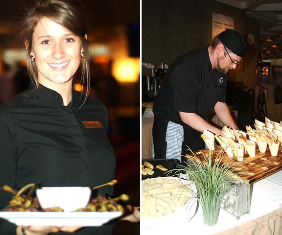 People serving and preparing food