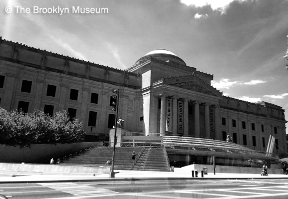 Large neo-classical building with clouds in the background, The Brooklyn Museum