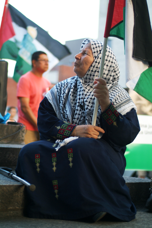 Old woman on steps of Human Rights Monument holds waving Palestinian flag