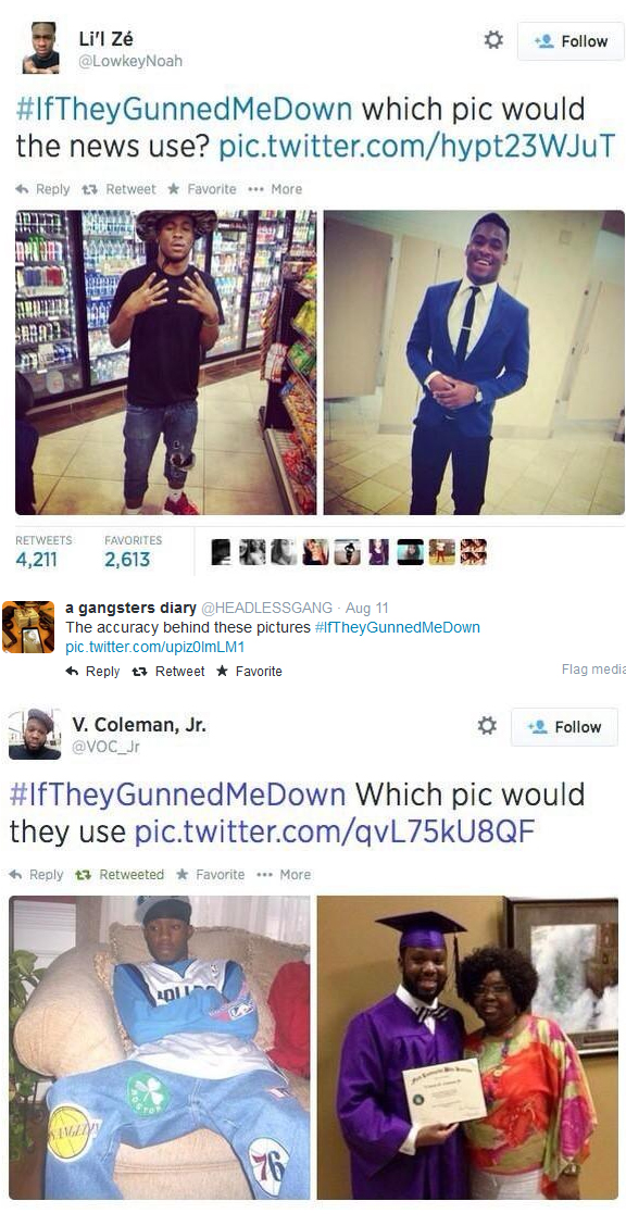 Screen capture of tweets by black men showing wish image the media would use if they were gunned down by the police