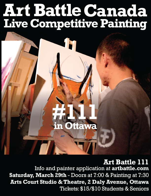 Poster for Art Battle Ottawa with the back of a young man painting an image on an easel