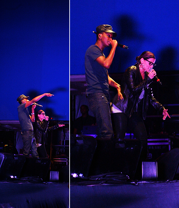 K'naan performing with Nelly Furtado