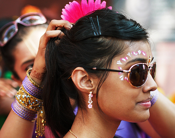 Dancers getting ready before the Festival of India Parade, Toronto.