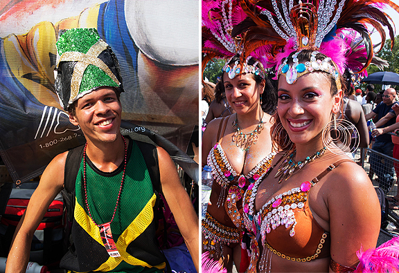 Image of cute young man on float and two pretty dancers.