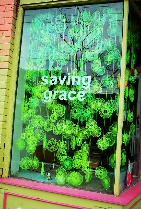 Part of DO Design, Toronto Design Offsite, window of Saving Grace