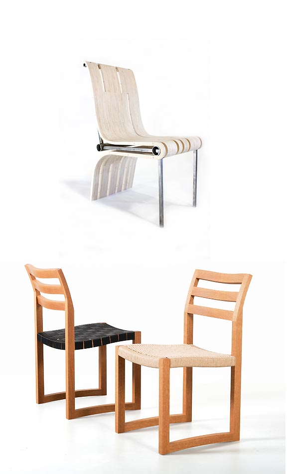 Chair made of metal and wood combination