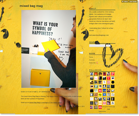 screen capture of tumblr blog with bright yellow background also image of a man holding on to a piece of yellow paper