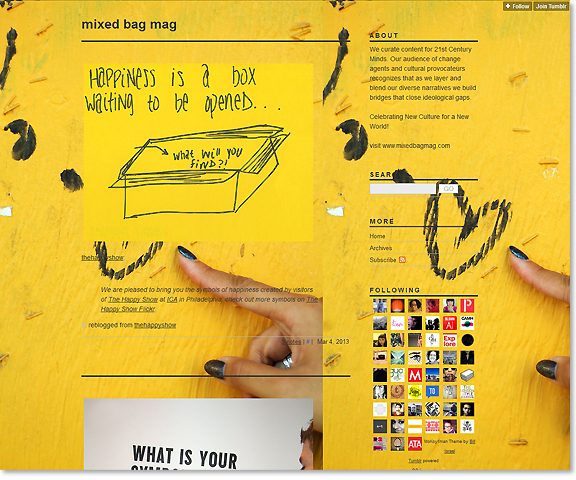 screen capture of tumblr blog with bright yellow background also image a yellow piece of paper with black writing reading happiness is a box waiting to be open