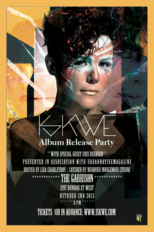 Woman in mask like makeup with promo information for CD release party