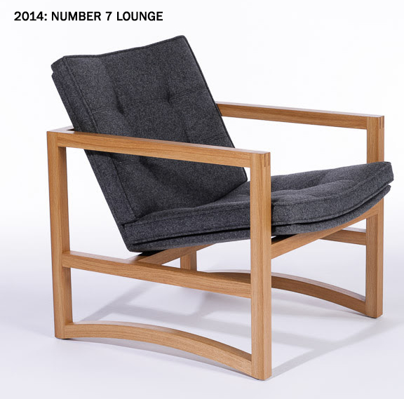 Square framed seat with light wood and gray cushioning