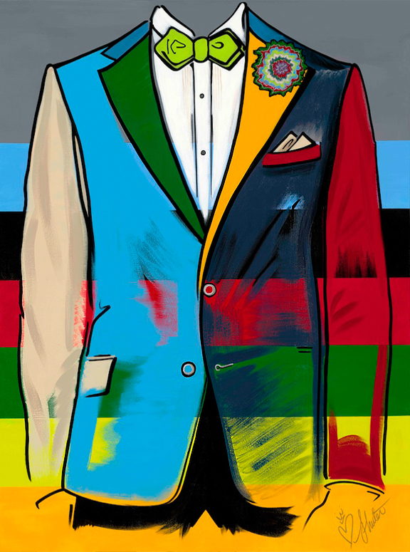 Colourful painting of a man's torso in a suit jacket