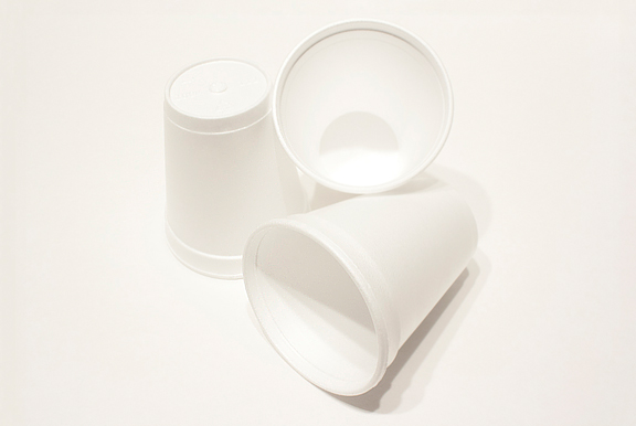 Image of 3 white styrofoam cups on white background
