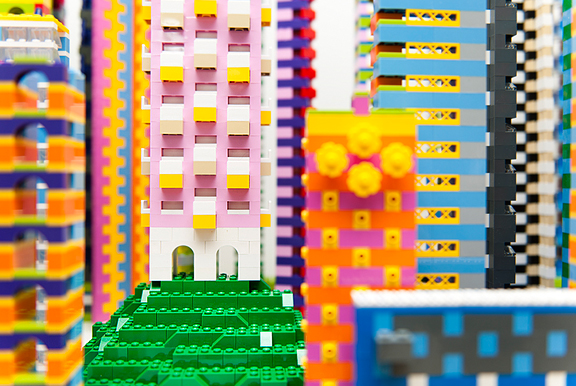 upclose photograph of towers like city skyscrapers made of colourful lego