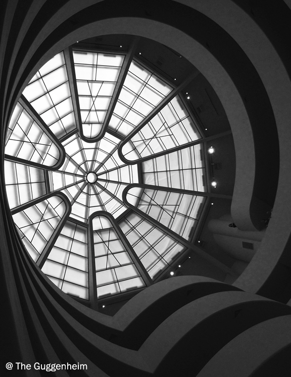 Looking up to the large skylight in the atrium of the Guggenheim