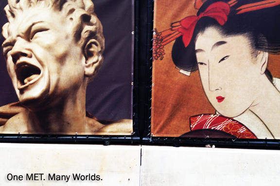 Posters for the Metropolitan Museum with photograph of classic bust of white man mouth open screaming on left and classic Japanese style painting of a Geisha