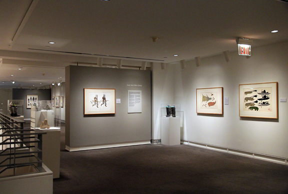 View of gallery with Inuit art on walls
