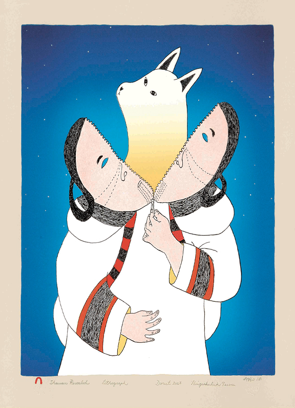 Art work of Inuit woman in traditional dress unzipping her head to reveal a fox coming out from her head